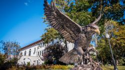 Hawk statue in front of College Hall