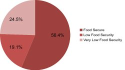 56.4% Food Secure, 19.1% Low Food Security, 24.5% Very Low Food Security