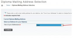 Screenshot of the Diploma Mailing Address selection page in Self-Service Banner.