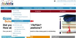 Screenshot of the HESAA web page with an arrow pointing towards Log into your NJFAMS.