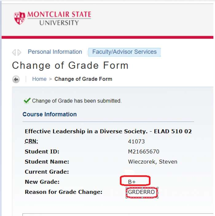 Change Of Grade Request Red Hawk Central Montclair State