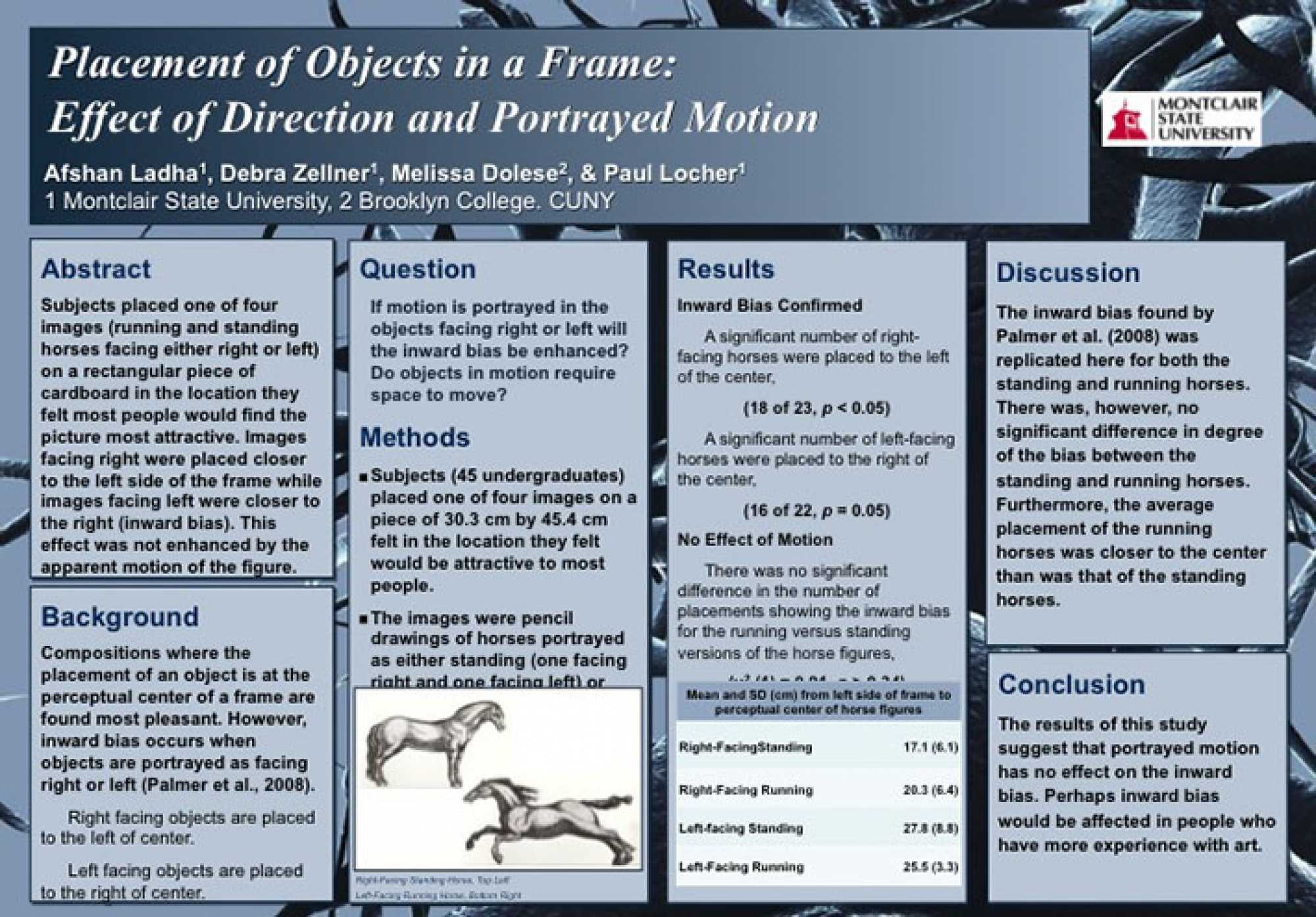 "Poster of abstract titled ""Placement of Objects in a Frame: Effect of Direction and Portrayed Motion"""