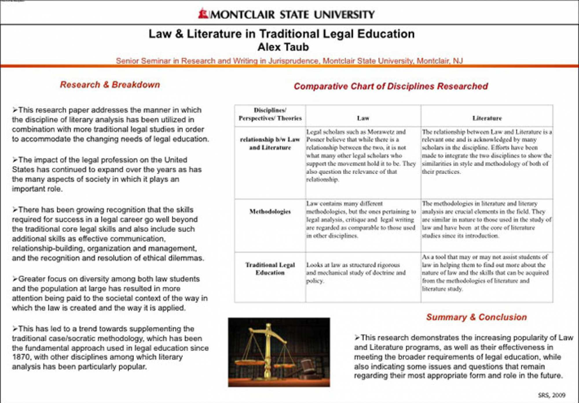 "Poster of abstracted titled ""Law & Literature in Traditional Legal Education"""