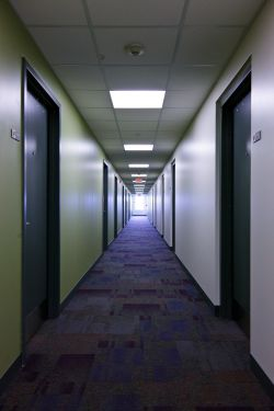 A long hallway in the Heights.