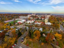 Aerial photograph of Montclair State University in the fall.