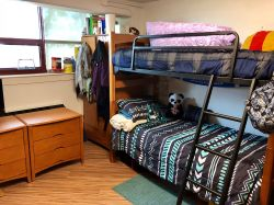 A Triple Unit in Stone Hall with a bunk bed on one side of the room.
