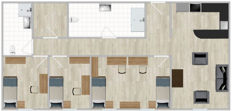 The Village Apartments Double Layout With Three Bedrooms Two Bathrooms And A Shared Kitchen