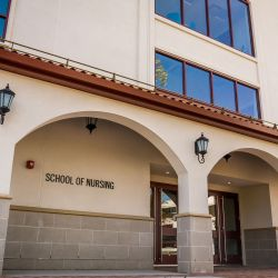 Photo of the front of School of Nursing building.