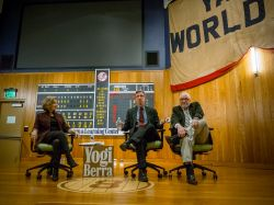 Harvey Araton of The New York Times, and Phil Mushnick of The New York Post, at the Yogi Berra Museum, with professor Rita Jacobs.