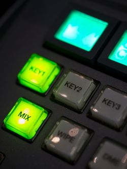 Close up photo of buttons on live video effects board