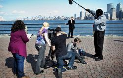 Montclair Students Film Commercial on location in Jersey City with New York City Skyline in Background