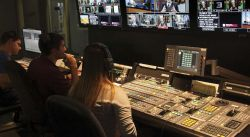 Photo of students in live TV control room.