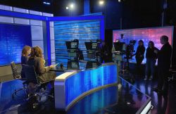 Broadcast Studio A in use, filming talk show
