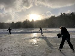 skaters on lake