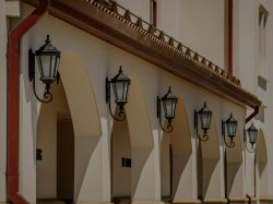 Lamps outside of the School of Nursing.