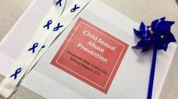"Image of a presentation slide that says ""Child Abuse Prevention"" Montclair State University Briana Rogers, B.A."
