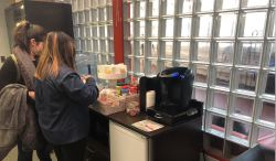 students at coffee station