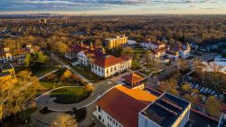 Aerial of campus with College Hall, Chapin and Russ.
