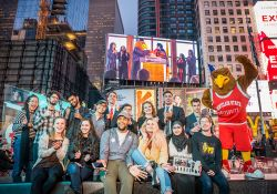 Students and Rocky in Times Square for the Feliciano School of Business Times Square Video Challenge!