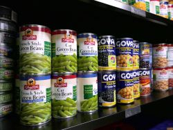 A few cans of food from the Red Hawk Pantry on a shelf.