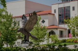 The Hawk Statue facing Kasser Theater.