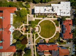 Aerial shot of College Hall and Freeman Hall from directly above.