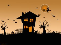 A haunted house with a lot of Halloween themed imagery such as bats, witches, cats and spooky trees.