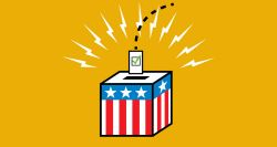 Graphic of a ballot box with stars and stripes, a ballot about to go into the box with lighting bolts around for excitement