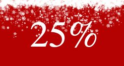 Graphic with red background and white snowflakes with 25%