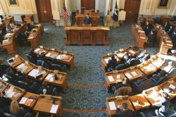 New Jersey State House Legislature chamber - members sitting at their desks
