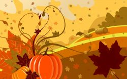 Graphic of pumpkins, fields, leaves blowing in the wind in orange and yellow