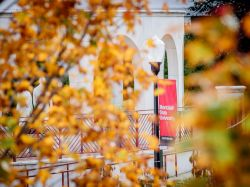 A Montclair State Banner on a pole in between some trees with fall leaves coming in.
