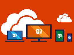 Graphic with a red background, white internet clouds an images of a laptop, desktop screen, tablet and mobile phone with MS Word, Powerpoint, Excel and OneNote icons.