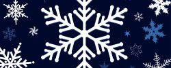 White snowflake on a dark blue background