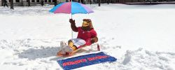 Picture of Rocky the Red Hawk sitting on a lounge chair with a beach umbrella in the snow outside the Student Center.
