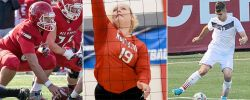 Compositve image of three fall sports: football, volleyball and men's soccer
