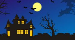 Spooky house with bats flying in the sky