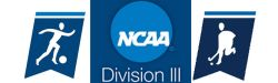 Graphic of the NCAA Division III logo with the men's soccer and field hockey banners in blue and white.