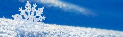 Background image of a blue sky with one large snowflakes on top of a blanket of snow.