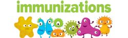 Graphic of cartoon germs with the word Immunizations on the top.