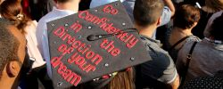 Picture of student's graduation cap with the words Go Confidently in the Direction of Your Dreams