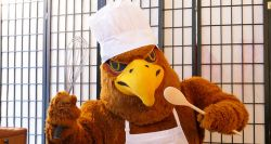 Picture of Rocky the Red Hawk in apron, chef's hat, holding a wooden spoon and large whisk.