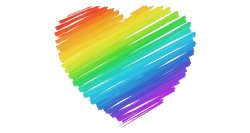Graphic of a rainbow colored heart.