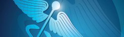 Graphic of a blue and white caduceus.