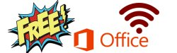 Graphic with the MSOffice logo and wifi symbol and the word Free.