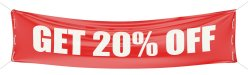 Red banner that says Get 20% Off.