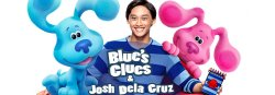 Graphic of the Blues Clues characters along with Montclair State University alumnus Josh Dela Cruz, the show's host.