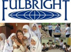 Fulbright logo above images of Fulbright scholars abroad