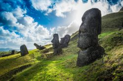Photo of the Moai statues at Rano Raraku, Easter Island in Chile.