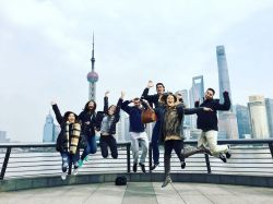 Students jumping in Shanghai